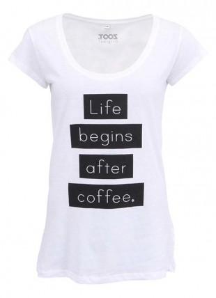 Bílé dámské tričko pro milovnice kávy