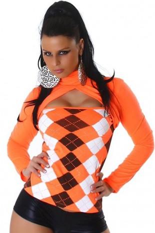 Oranžový karovaný top s dlouhým rukávem