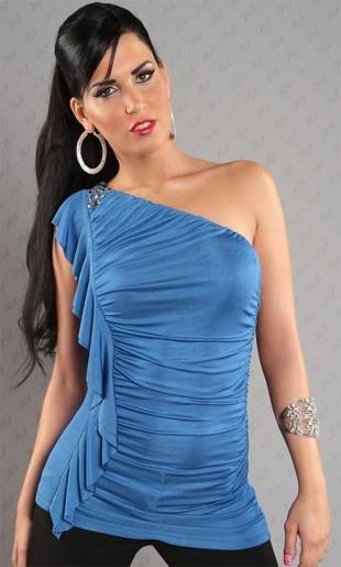 Modrý dámský společenský top nad prsa a jedno širší ramínko