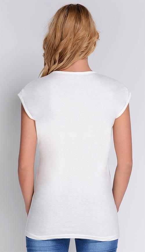 Krémové dámské triko s krátkým rukávem