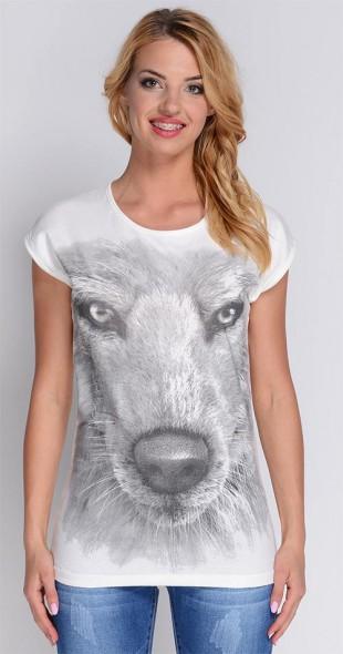 Módní dámské tričko s potiskem psa Avaro BL-1156