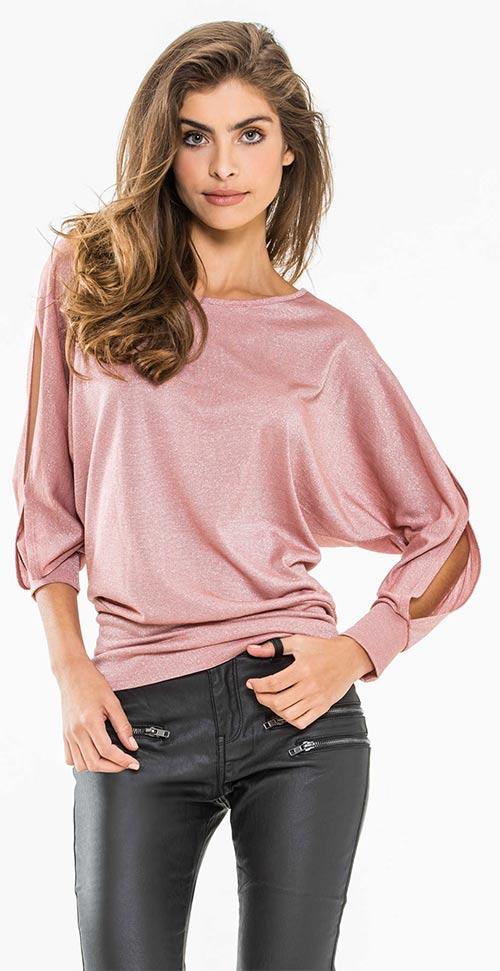 Růžový prodloužený dámský top s netopýřími rukávy