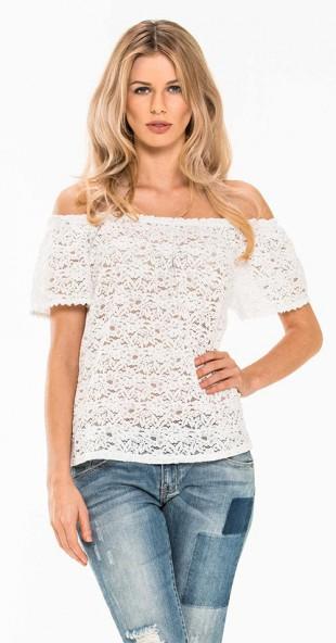 Bílý dámský krajkový top s volnými rameny