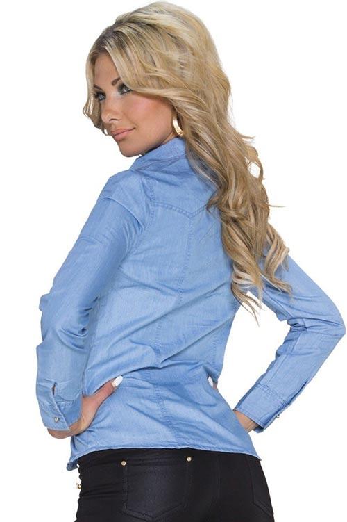 Dámská riflová košile s dlouhým rukávem