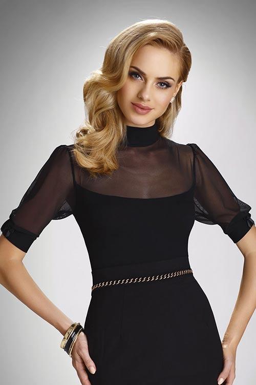 Elegantní černá společenská halenka Editta s tylovými rukávy