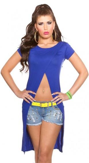 Modré dámské trendy tričko v asymetrickém střihu