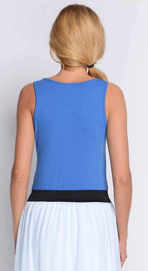 Modré dámské tričko bez rukávu