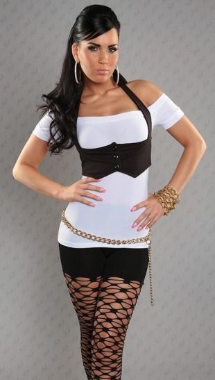 Bílý moderní dámský top s černým bolerkem