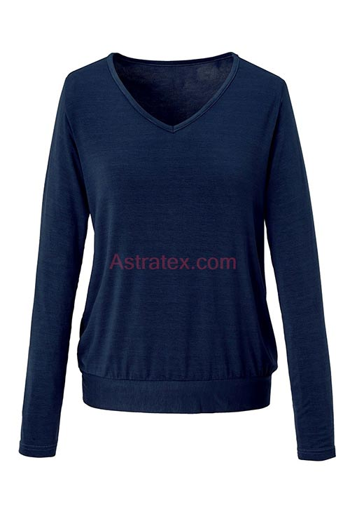 Jednobarevné dámské triko s dlouhým rukávem