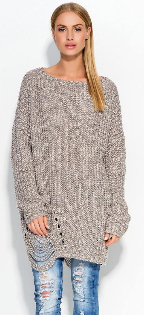 Oversized dámský svetr - maxi velikosti