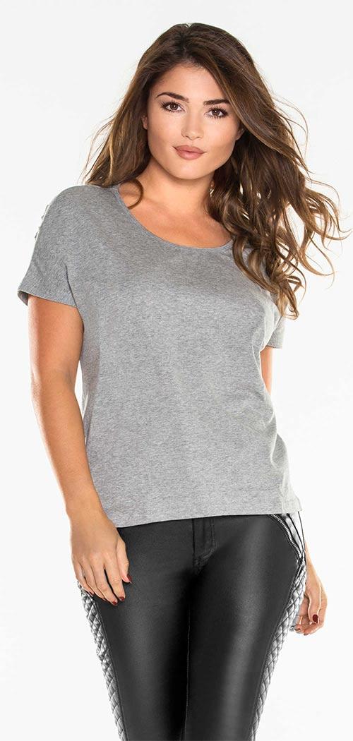 Šedé dámské tričko s kulatým výstřihem