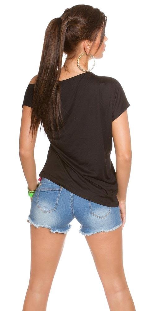 černé dámské tričko na jedno ramínko