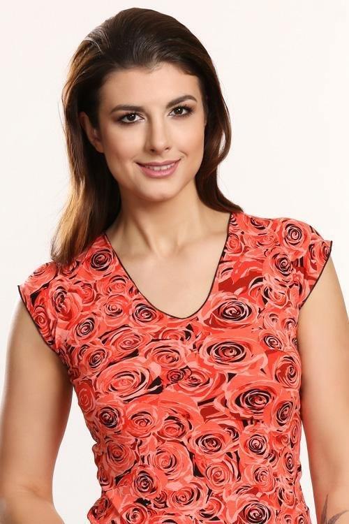 Letní oranžové tričko s květinovým potiskem