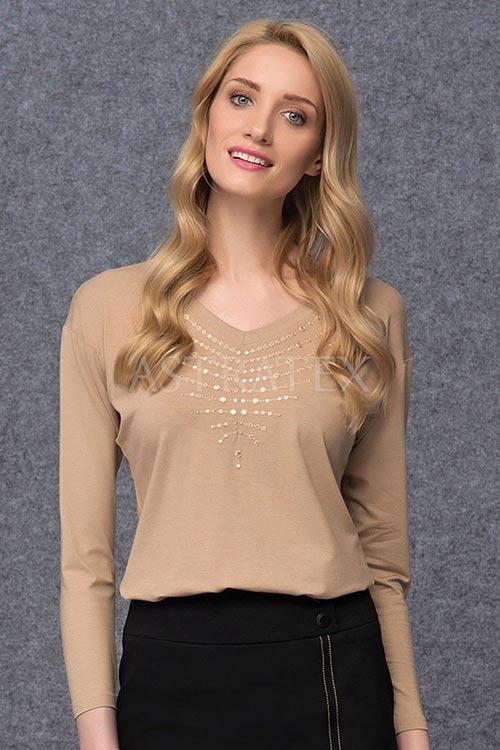 Luxusní dámské tričko Peg v béžové barvě