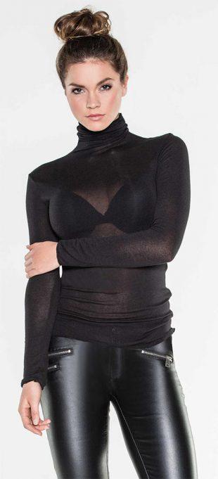 Průsvitný černý top s roláčkem a dlouhými rukávy