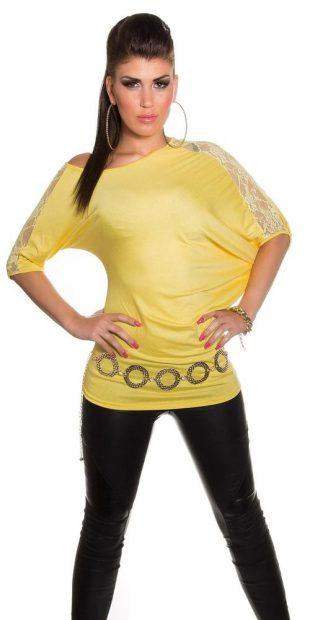 Žlutá asymetrická tunika s krátkými krajkovými rukávy