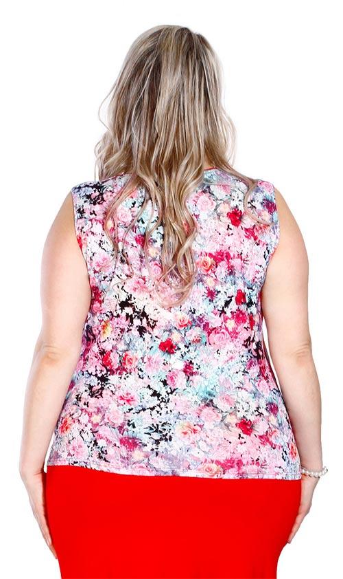 Květované tričko bez rukávů