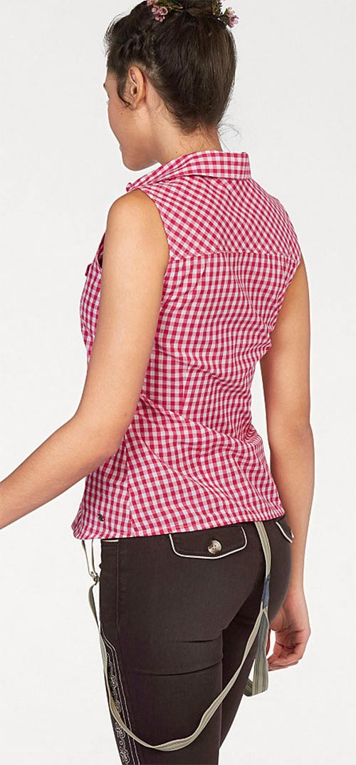 Růžovo-bílá kostkovaná košile