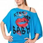 Modré tričko s potiskem Kiss Me Baby