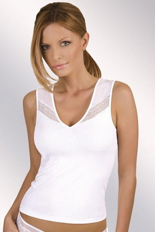Pohodlné dámské bílé triko bez rukávu