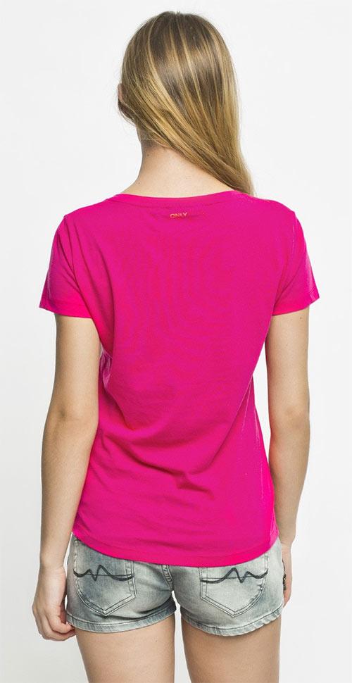 Růžové tričko s potiskem Run this way