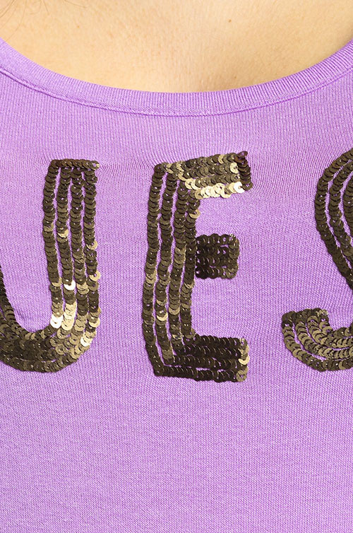 Dámský fialový top Guess Jeans s flitry
