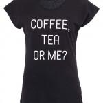 Černé dámské tričko ZOOT Original Coffe Tea or Me