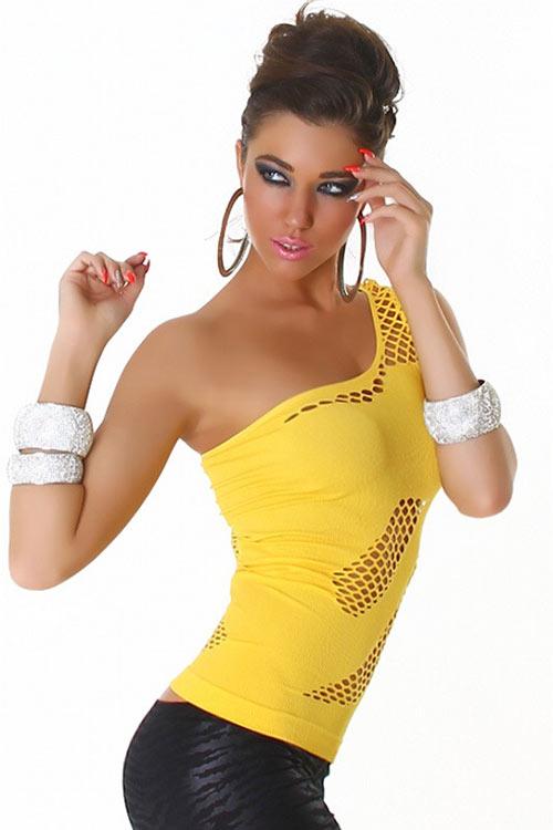Sexy žlutý dámský top nad prsa
