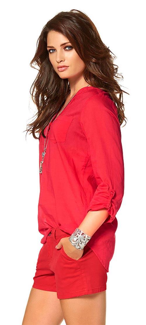 Červený dámský top s  dlouhými rukávy