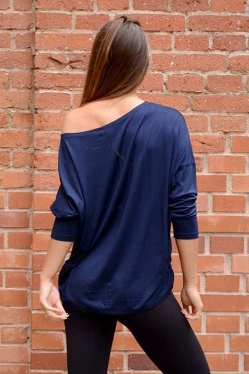 Dlouhé modré tričko na jedno rameno