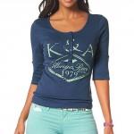 Modré tričko s dlouhou knoflíkovou légou