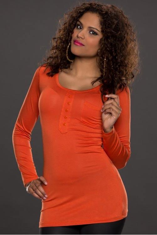 Oranžové prodloužené dámské tričko s dlouhým rukávem