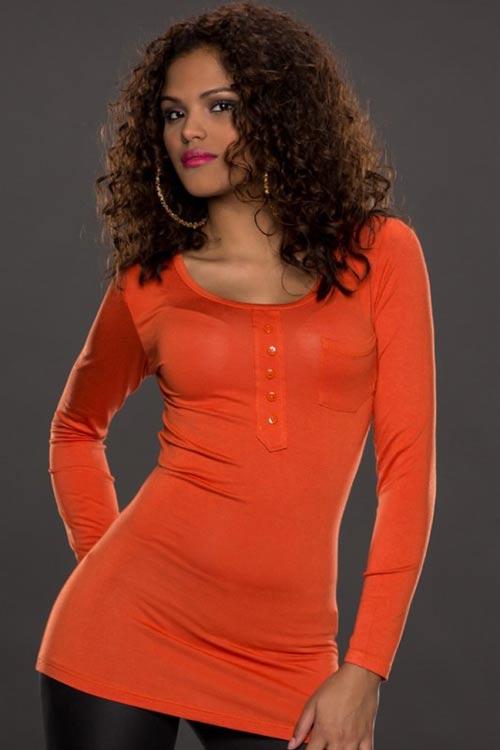Oranžové tričko s knoflíčky