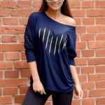 Tmavě modrý dámský top s dlouhým rukávem