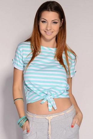 Pruhované dámské tričko s ozdobnými knoflíky na rukávech