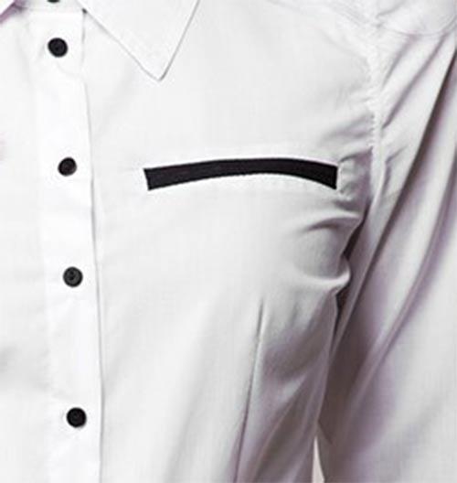 Bílá dámská košile s černými knoflíky
