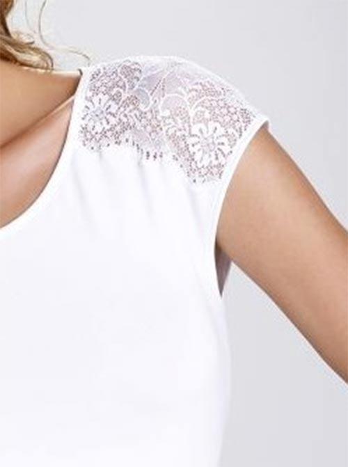 Bílé dámské tričko s krajkovými ramínky