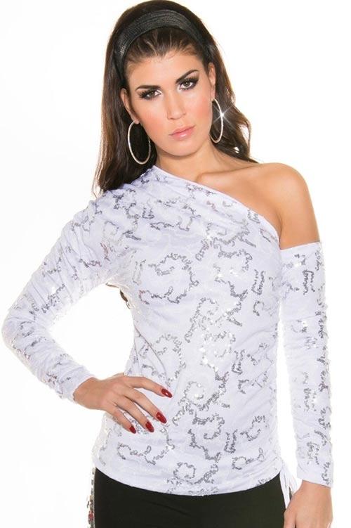 f56a289d573d Bílý dámský společenský top nad prsa s rukávníkem