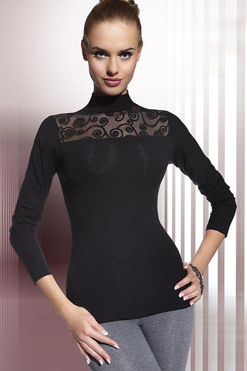 Černá dámská halenka s malým stojáčkem a dlouhými rukávy 14f5ab93c4