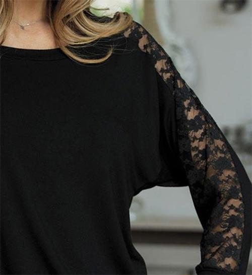 Černý dámský top s netopýřími rukávy