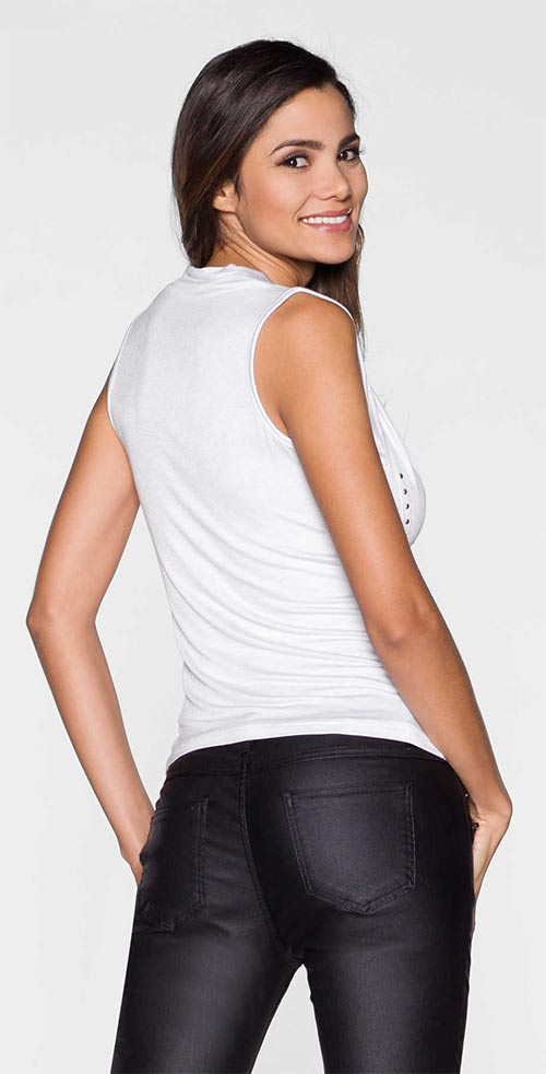 Bílé tričko bez rukávu
