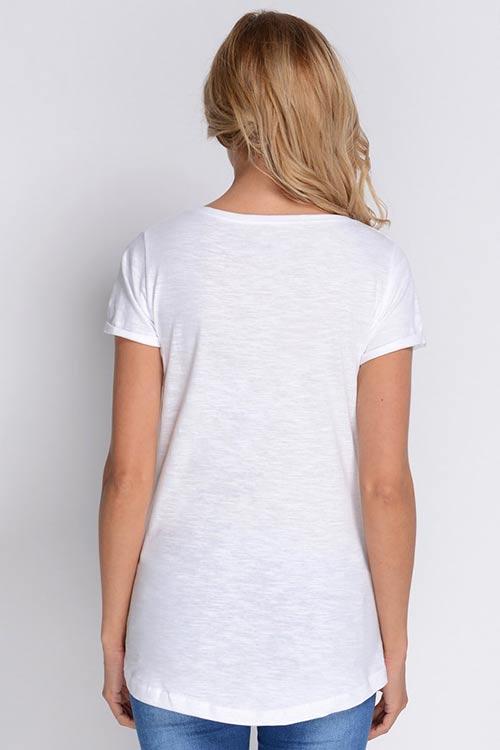 Bílé prodoužené bavlněné tričko