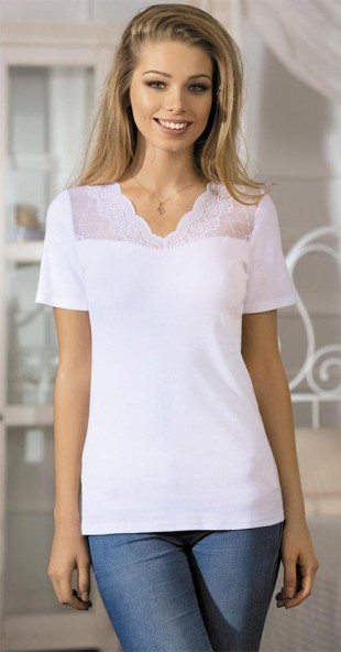 Dámské tričko/halenka s krajkovým výstřihem