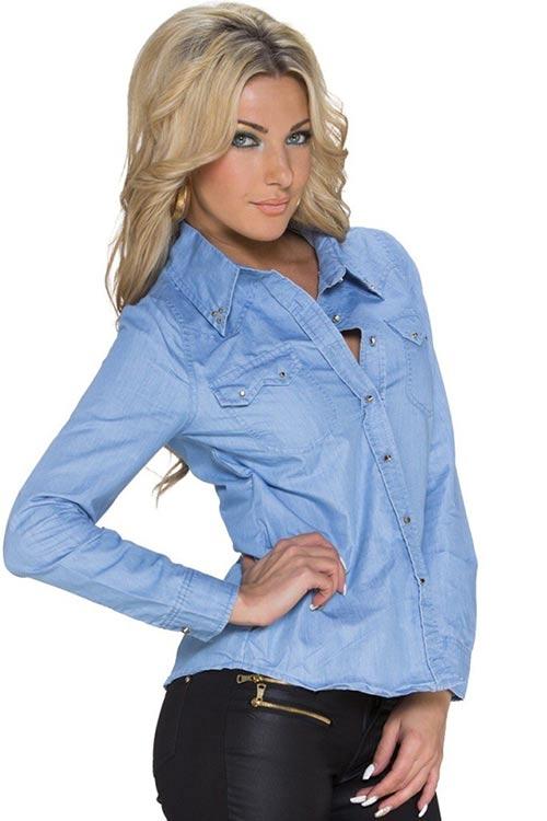 Jeansová košile s ozdobnými knoflíčky