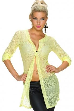 Žlutá dlouhá krajková halenka košilového střihu