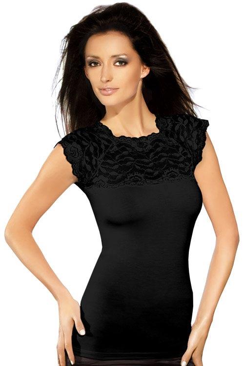Černé přiléhavé dámské tričko