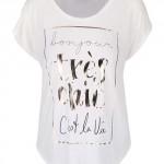 Krémové tričko s potiskem a transparentním zadním dílem