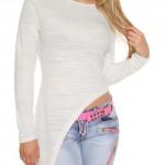 Prodloužené bílé asymetrické dámské tričko s dlouhými rukávy