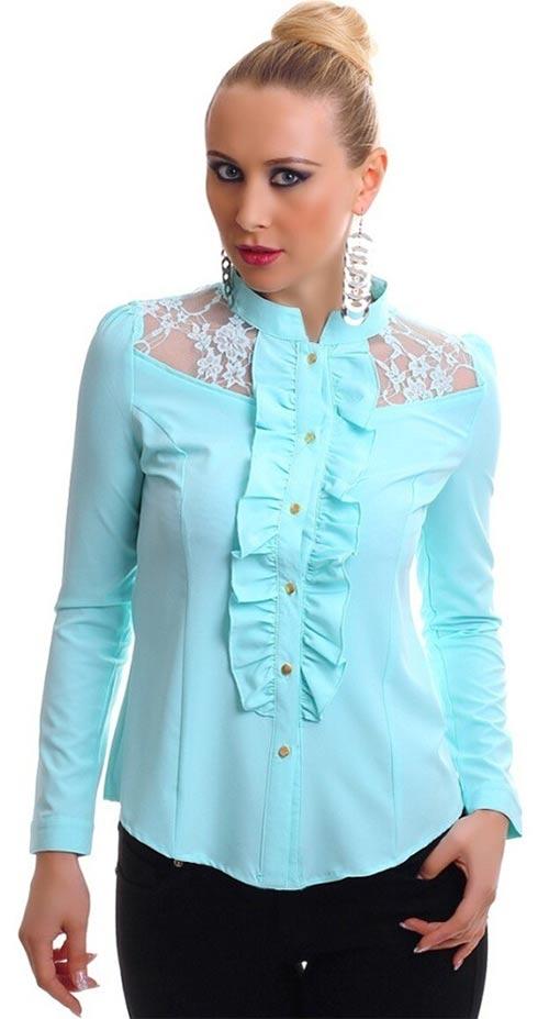 Tyrkysová košilová halenka s krajkou a zapínáním na kanýrek