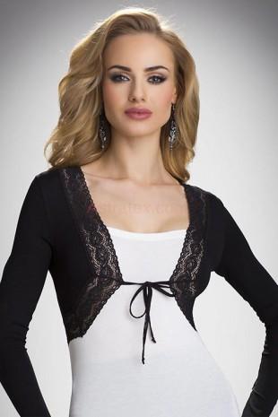 Bílé tričko Hanna s bolerkem v černé barvě